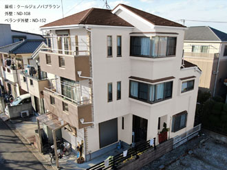 屋根:クールジェノバブラウン-外壁:ND-108-ベランダ外壁:ND-152