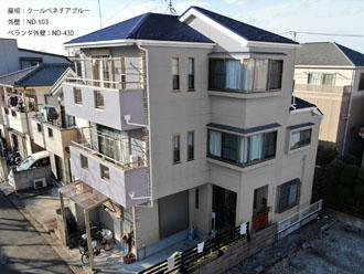 屋根:クールベネチアブルー-外壁:ND-103-ベランダ外壁:ND-430