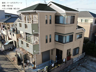 屋根:クールモスグリーン-外壁:ND-152-ベランダ外壁:ND-218