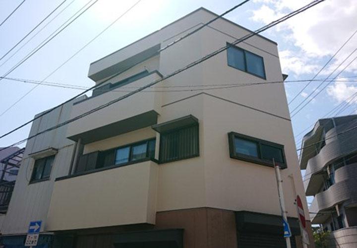 外壁塗装後の3階建