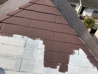 サーモアイSiのクールジェノバブラウンでスレート屋根の塗装