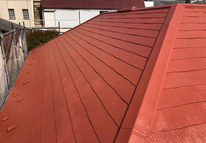 パーフェクトクーラーベスト(Pクールローマオレンジ)で屋根塗装が竣工