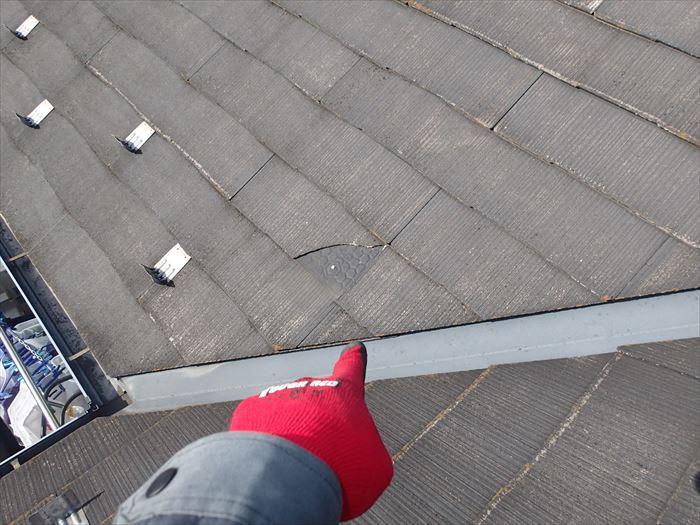 スレート屋根材の滑落