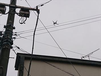 屋根の上にドローンを飛ばします
