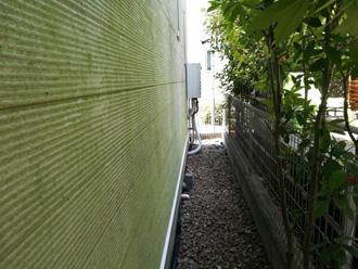 外壁点検 藻で変色してしまっている窯業系サイディング外壁