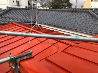 パラペット付きの屋根 塗装後
