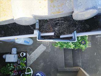 葛飾区金町で行った雨樋の詰まりの調査で上合が詰まっています