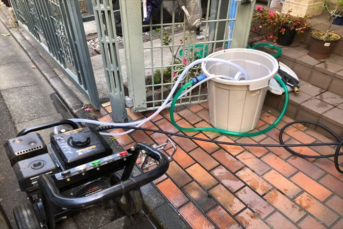 高圧洗浄作業準備