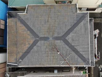 ドローンでスレート屋根を点検、アンテナが倒れていました