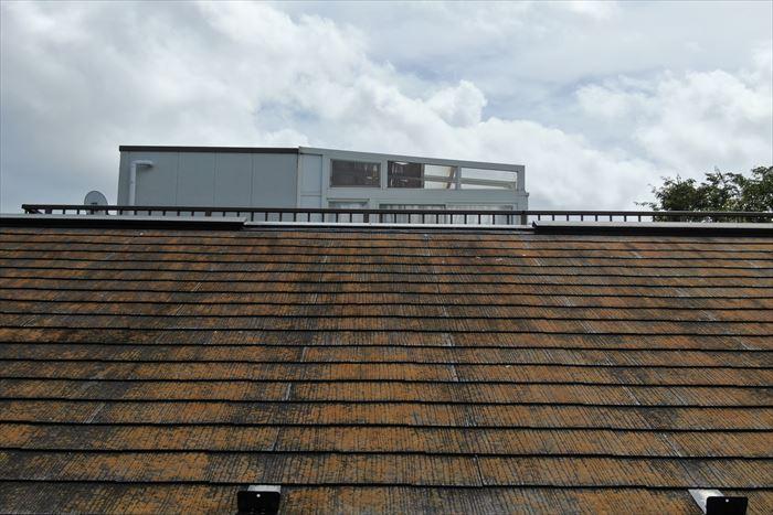 スレート屋根にコケの発生