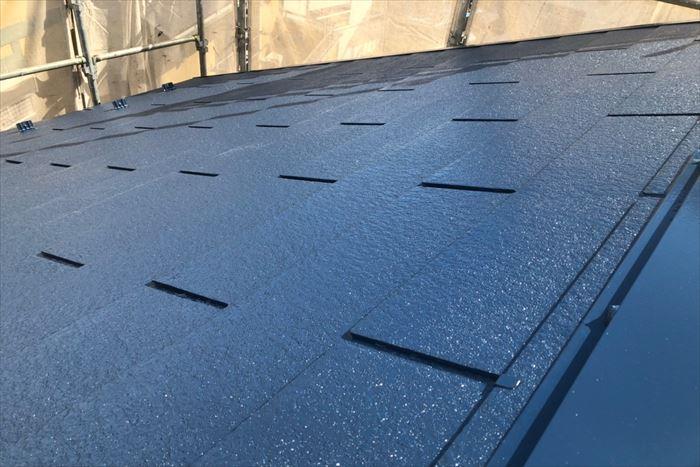 ナスコン色の屋根塗装完成
