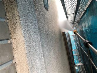 モルタル外壁の高圧洗浄