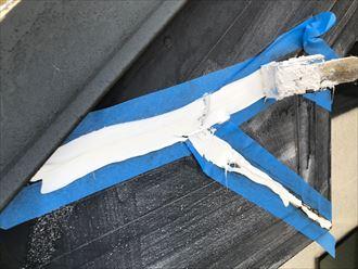 破風板の継ぎ目シーリングの打ち換え