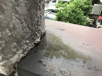 笠木と外壁取り合いに水の流れの形跡