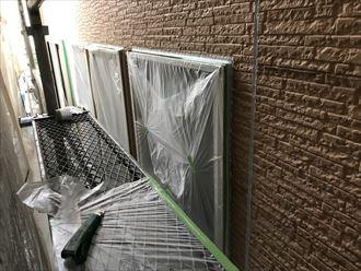 外壁塗装前の養生作業
