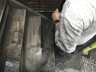 階段部の洗浄