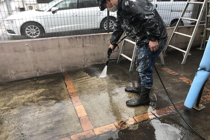 駐車場の洗浄