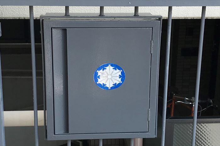 連結送水管ボックスの塗装完了