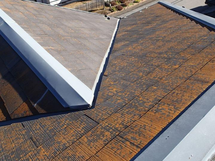 苔で覆われたスレート屋根