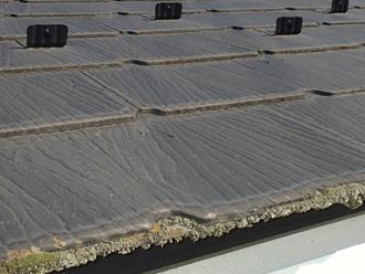 スレート屋根に繁殖した苔