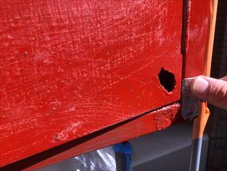 鉄部の穴あき