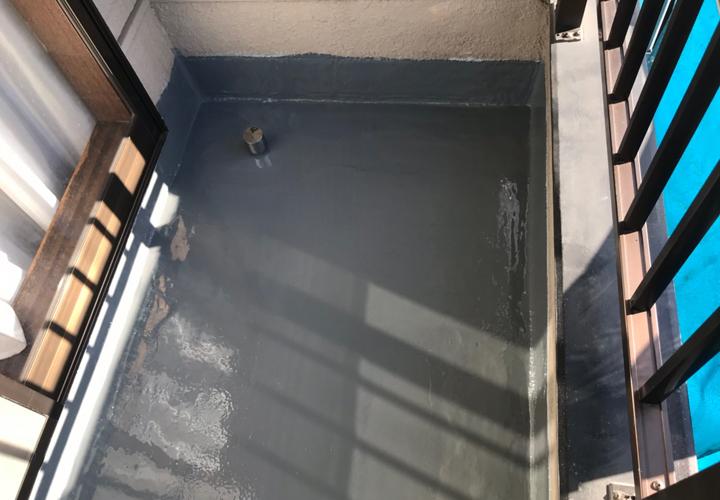 ウレタン防水(通気緩衝工法)が竣工したベランダ