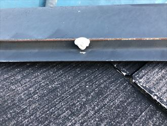 塗装前に釘を打ち込み、更に釘頭をコーキング処理
