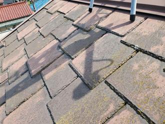 色褪せや藻が目立つアーバニー屋根
