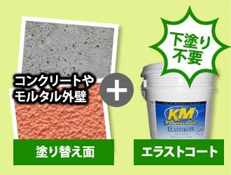 コンクリートやモルタル外壁に直接塗装できる
