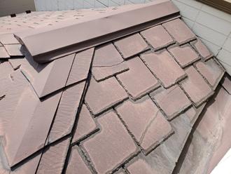 ひび割れ補修された形跡のあるアーバニー屋根