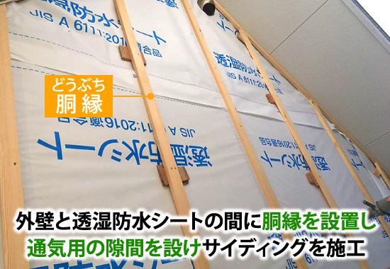 通気工法は外壁と透湿防水シートの間に胴縁を設置し通気用の隙間を設けサイディングを施工