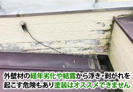 外壁材の経年劣化や結露から浮き・剥がれを起こす危険もあり塗装はオススメできません