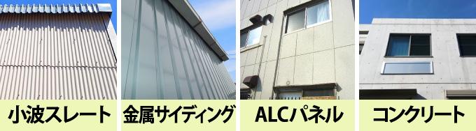 小波スレート・金属サイディング・ALCパネル・コンクリート