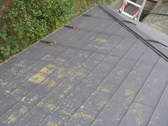 苔が生えたスレート屋根
