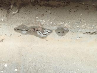 避けたウレタン防水の床面
