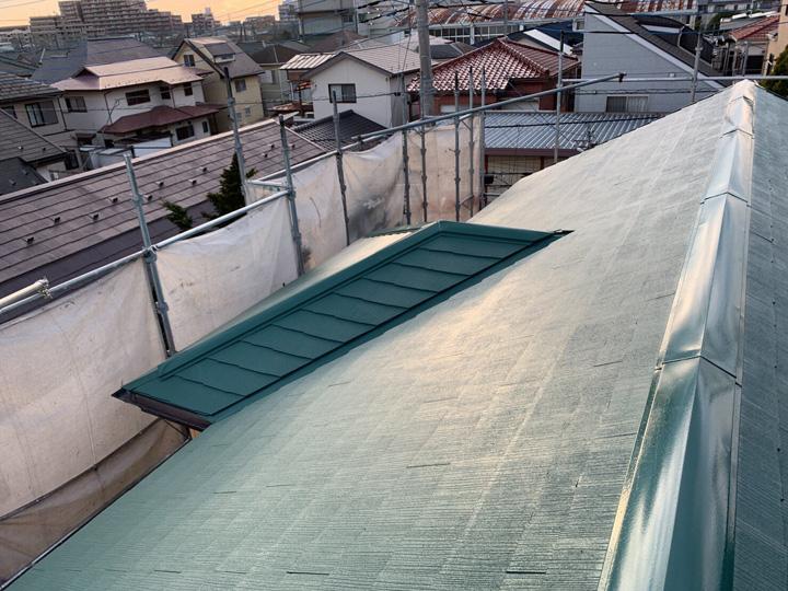 棟板金の交換とスレート屋根塗装、竣工