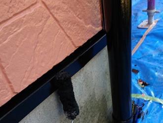 水切り金具と雨樋に塗装